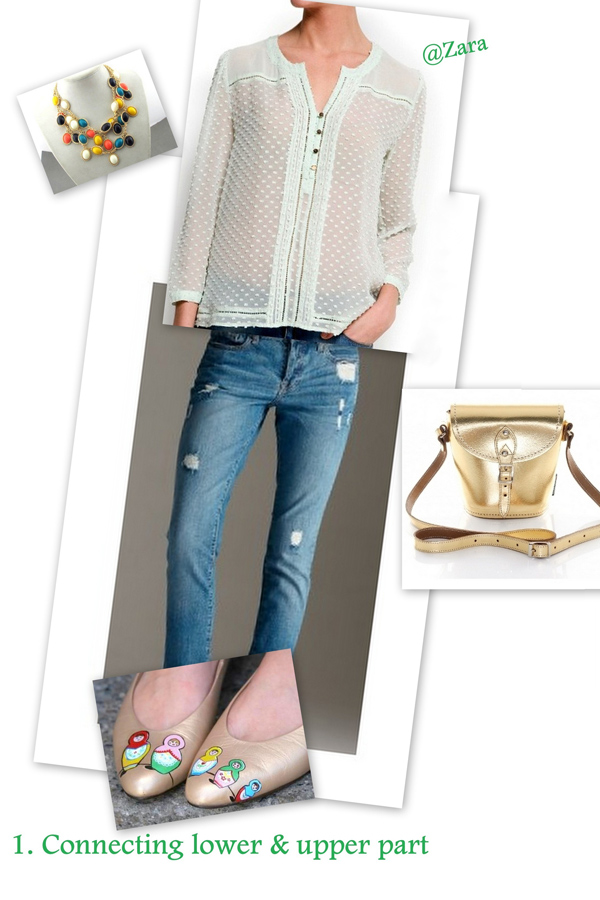 Blue jeans with mint shirt and goldes accessories