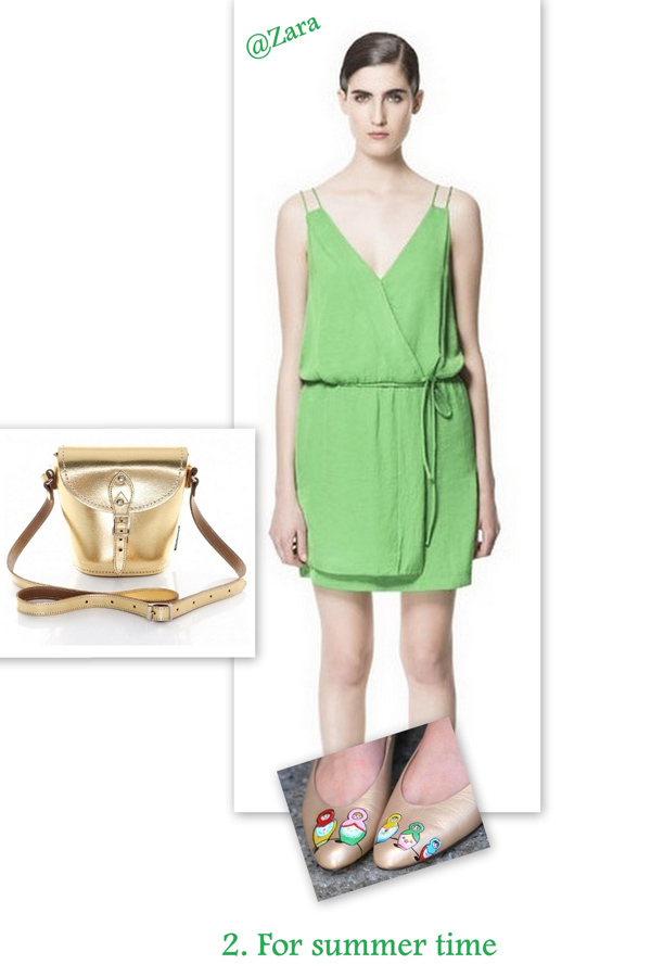 Summer dress with colored shoes and golden accessories
