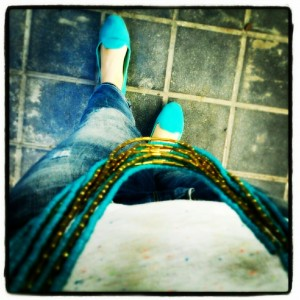 Turqouise shoes and trendy necklace
