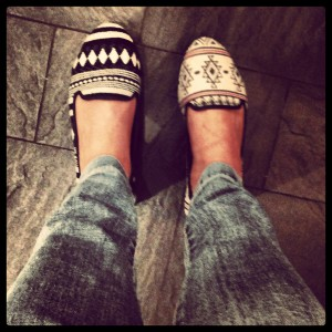 Shoes from Stradivarius with ethnic and tribal patterns