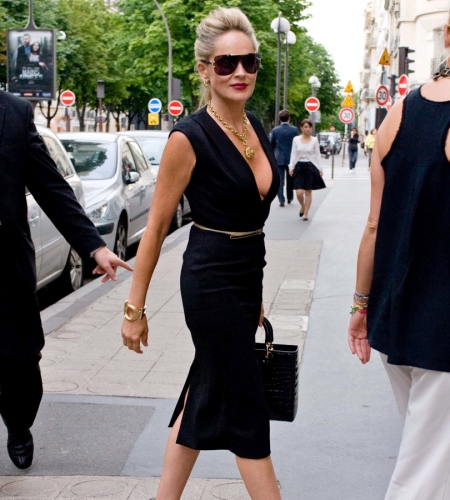 Sharon Stone in a black great dress, looking amazing at 55 years