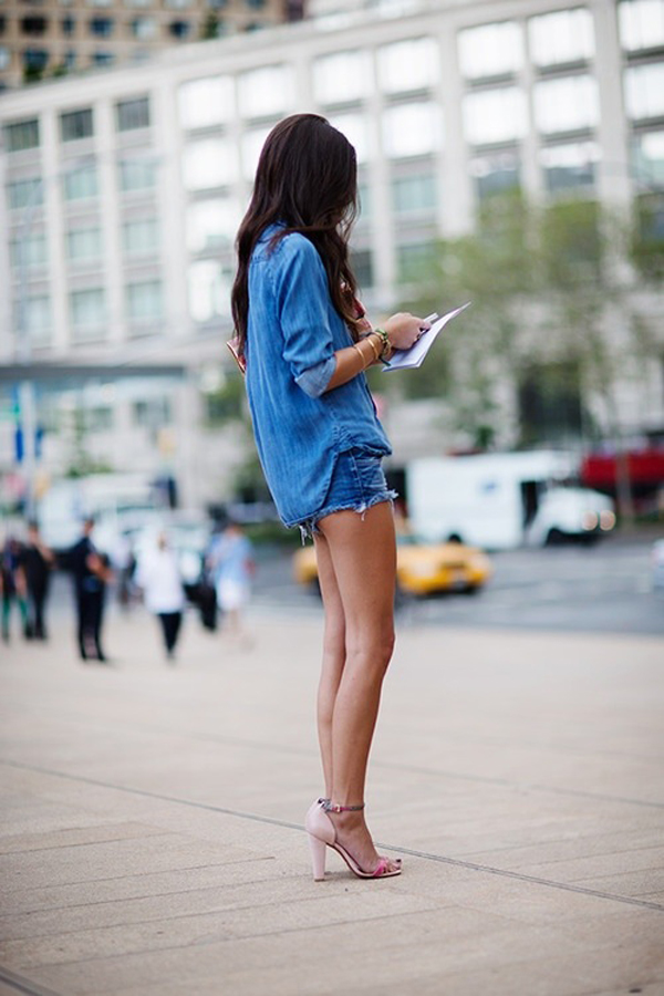 Denim shirt and denim shorts, a great casual look