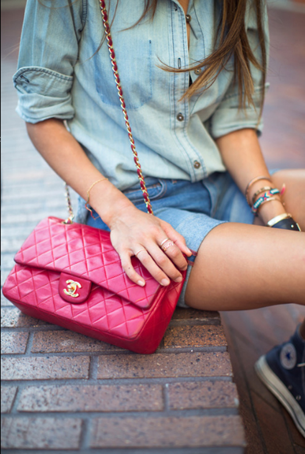 Denim shorts and chanel bag, cool look