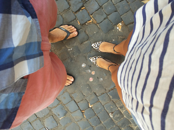 Leopard shoes and flip flops on holiday