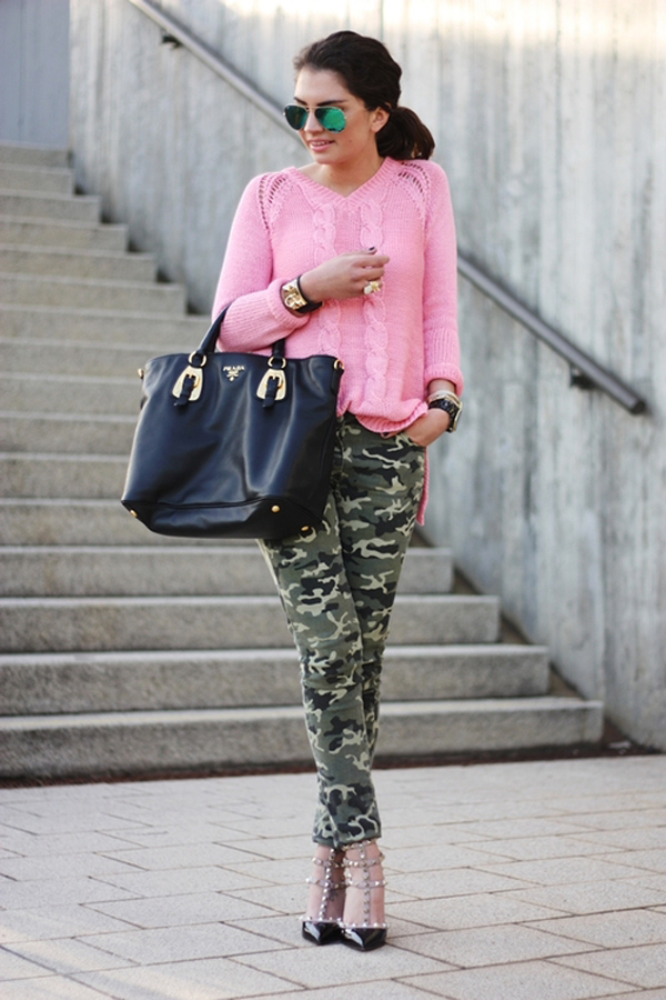 Army pants sweater and pumps