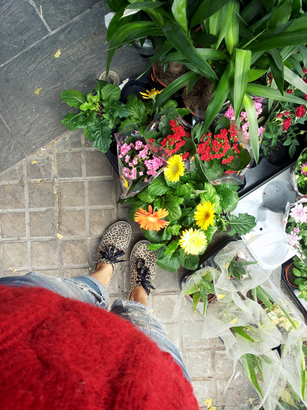 Flowers, jeans and animal print shoes