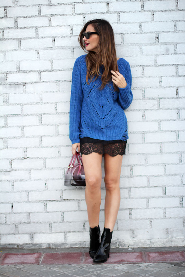 Blue lace sweater for a fashion girl