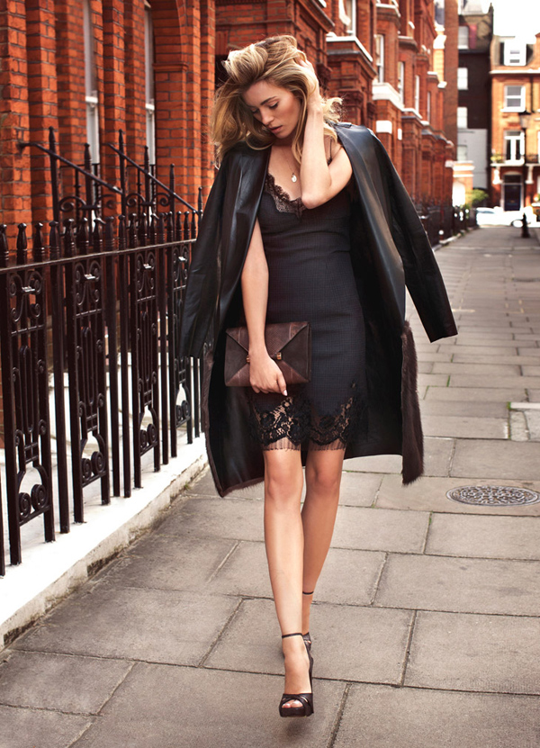 Black lace leather coat on blonde girl