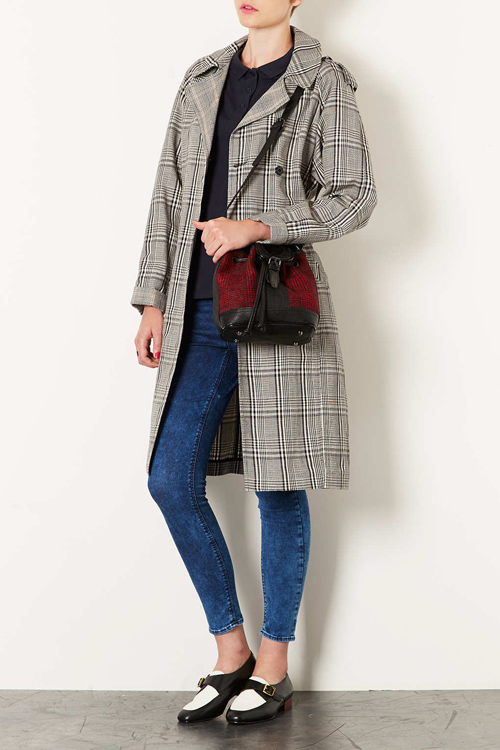 Topshop tartan coat and bag for a casual look