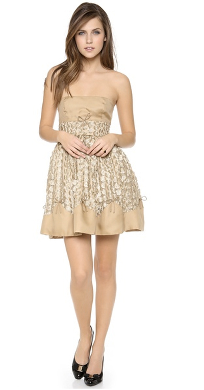 Beige and lace and embellished dress for prom party