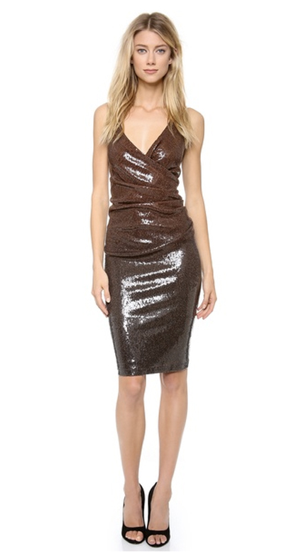 Brown sequin dress