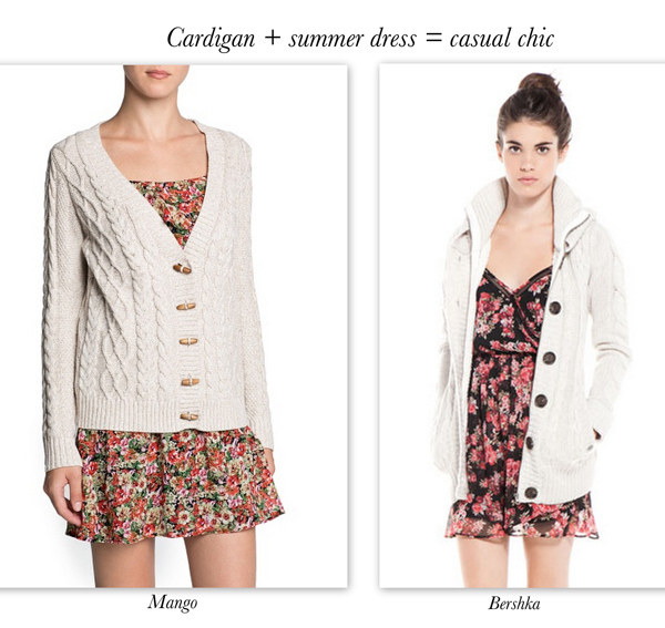 Mango and Bershka cardigan, trends for 2014