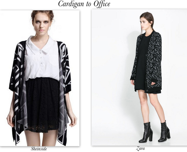 Cardigan office look in black from Zara at She Inside