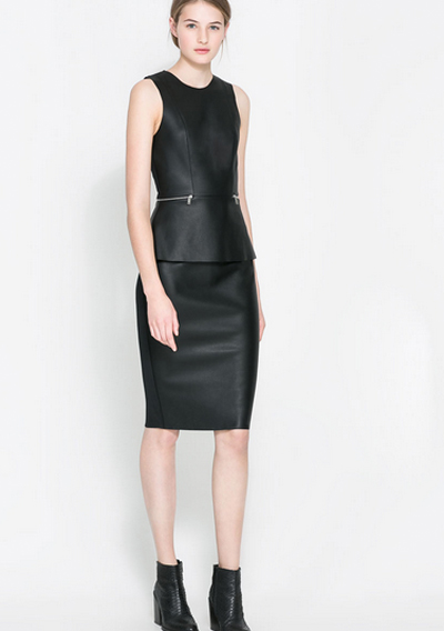 Leather black dress from Zara