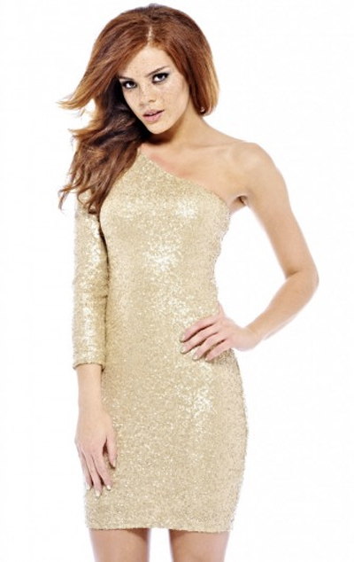 Sequin beige dress, sexy and elegant