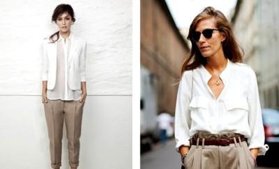 ce-sa-port-la-birou.-beige-pants+and+white-shirt-work-office-attire