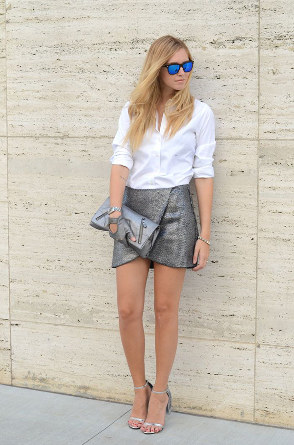 Chiara grey silver skirt