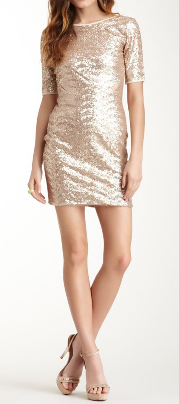 Sequin beige dress for clubbing