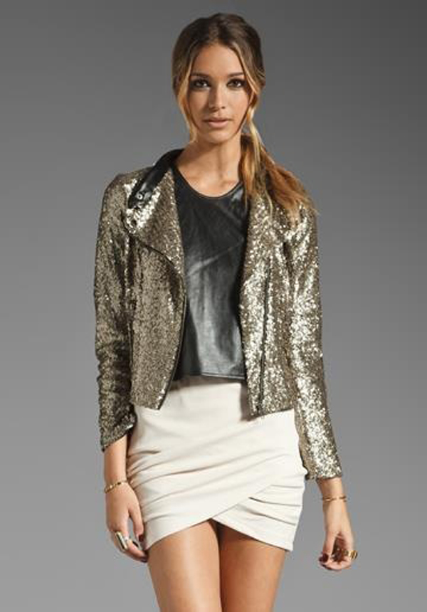 Sequin jacket and beige skirt