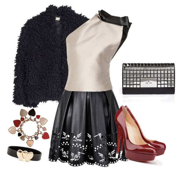 Valentines day look for young ladies: Red shoes, black skirt and beige blouse