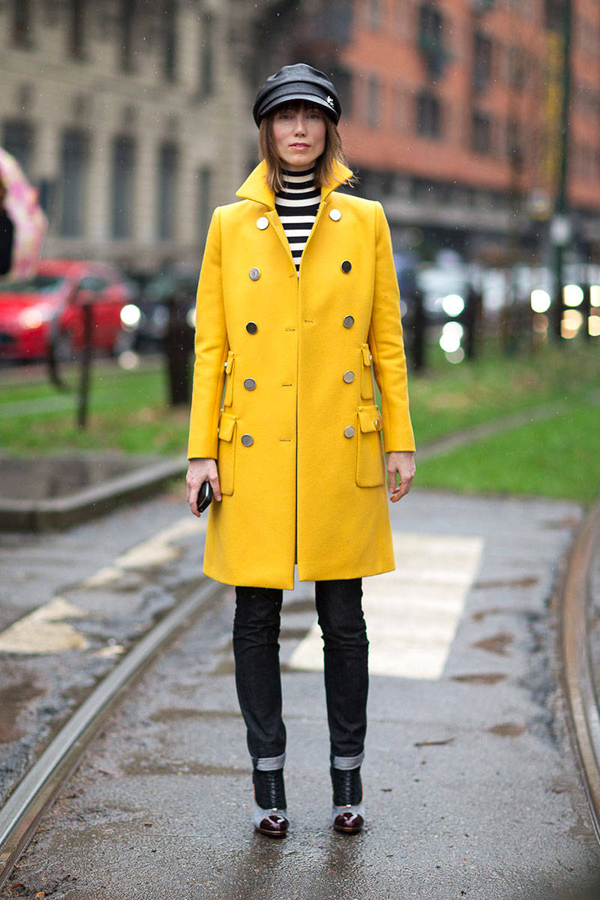 Inspiring yellow coat at Milan Fashion- Week