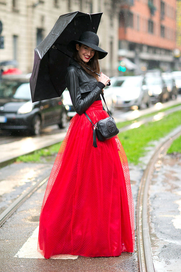 Amazing hat and red skirt on brunette street styl girl