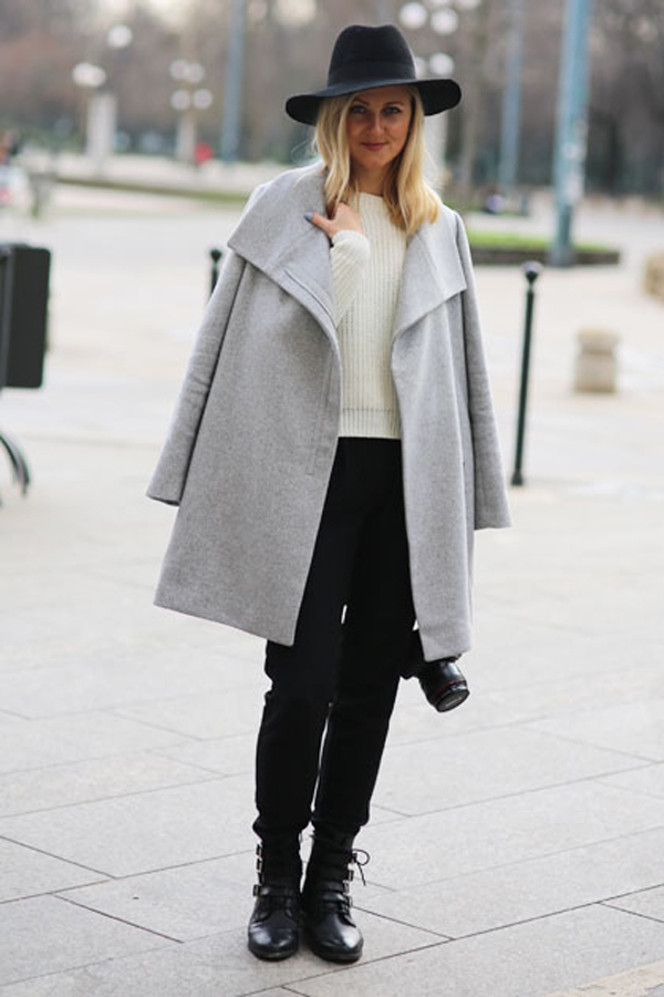 Black hat and grey coat