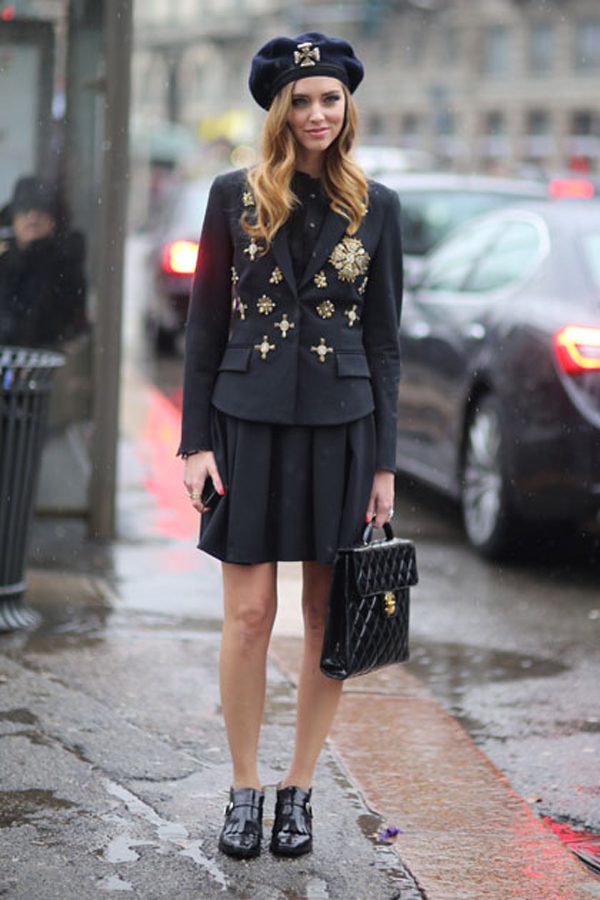 Chiara Ferragni hat black at Milan Fashion Week
