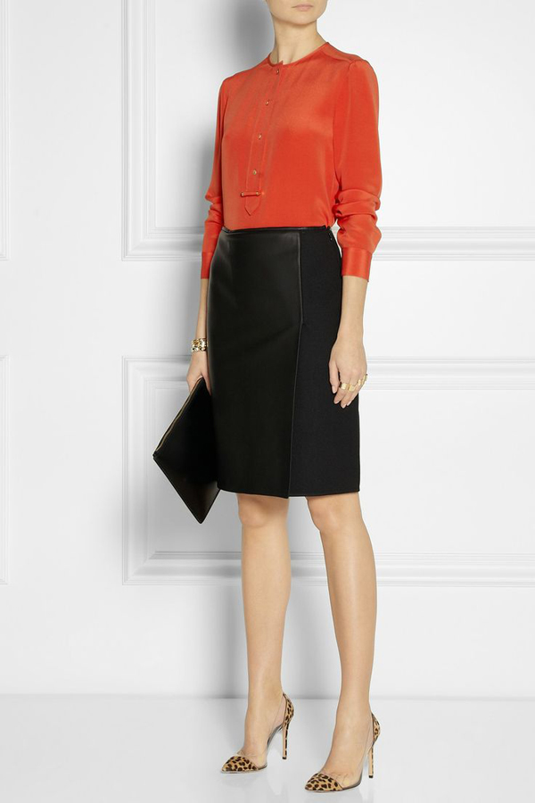 Office attire orange and black skirt: Perfect look for work