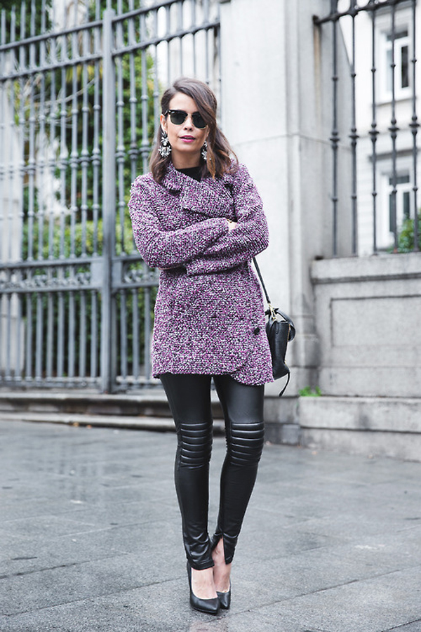 Purple coat beauty tips from fashion blogger