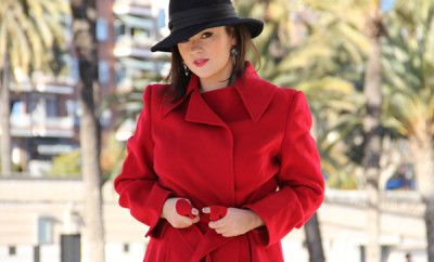 red-coat-glamourous-look-black-hat-the-best-photo