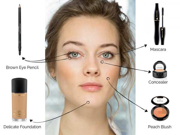 The basic of makeup: Brown eye pencil foundation, concealer and mascara