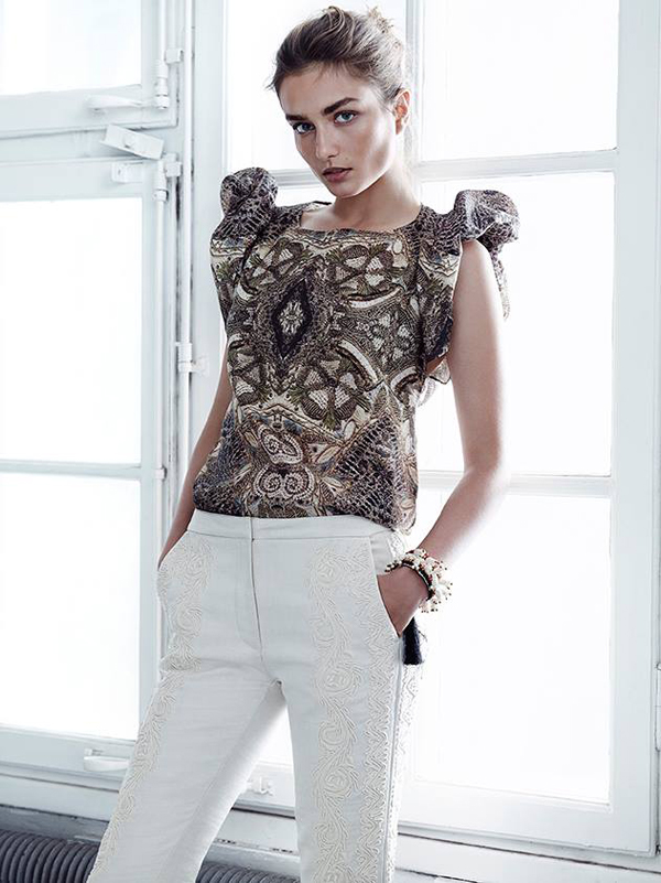 H&M conscious collection white pants with Andreea Diaconu