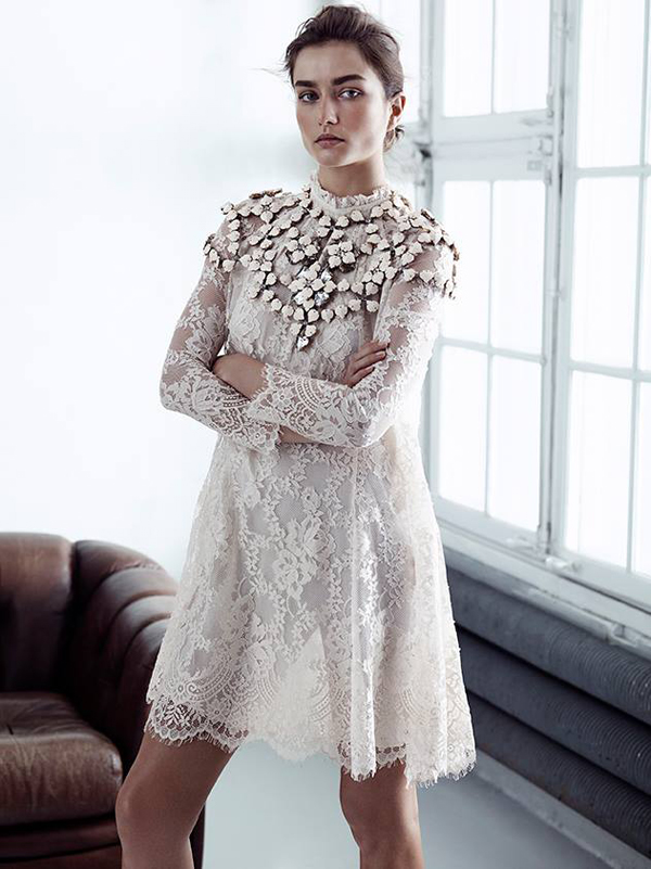 H&M lace dress exclusive collection with Andreea Diaconu
