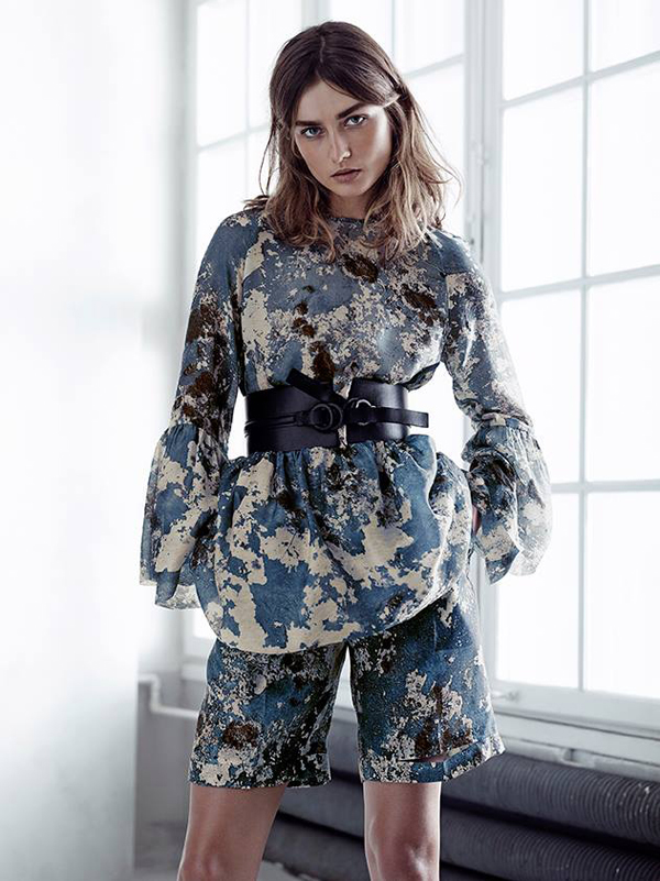 H&M eco exclusive collection masculine suit with Andreea Diaconu