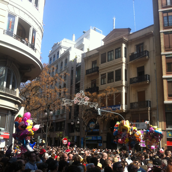 People during Las Fallas in Spain