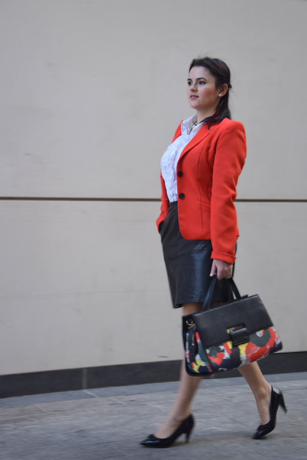 Red blazer office attire, leather skirt and white shirt