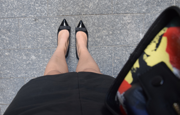 Shoes by zara for office look, leather skirt and black colored bag