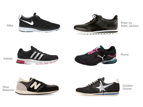 Sneakers and running shoes: Nike, Adidas, Converse, New Balance