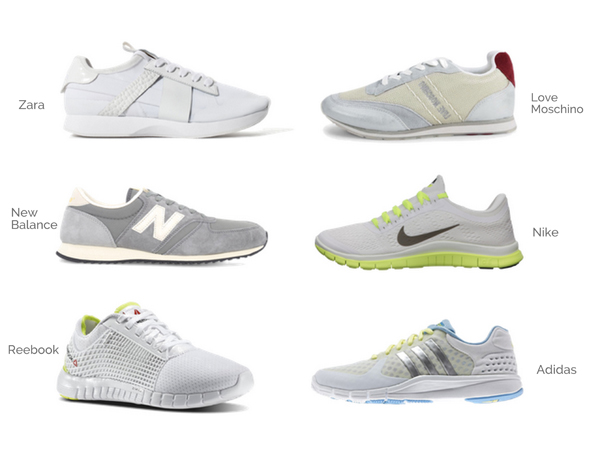Running shoes from Nike, Adidas, Zara, New Balance, Reebok, and Moschino