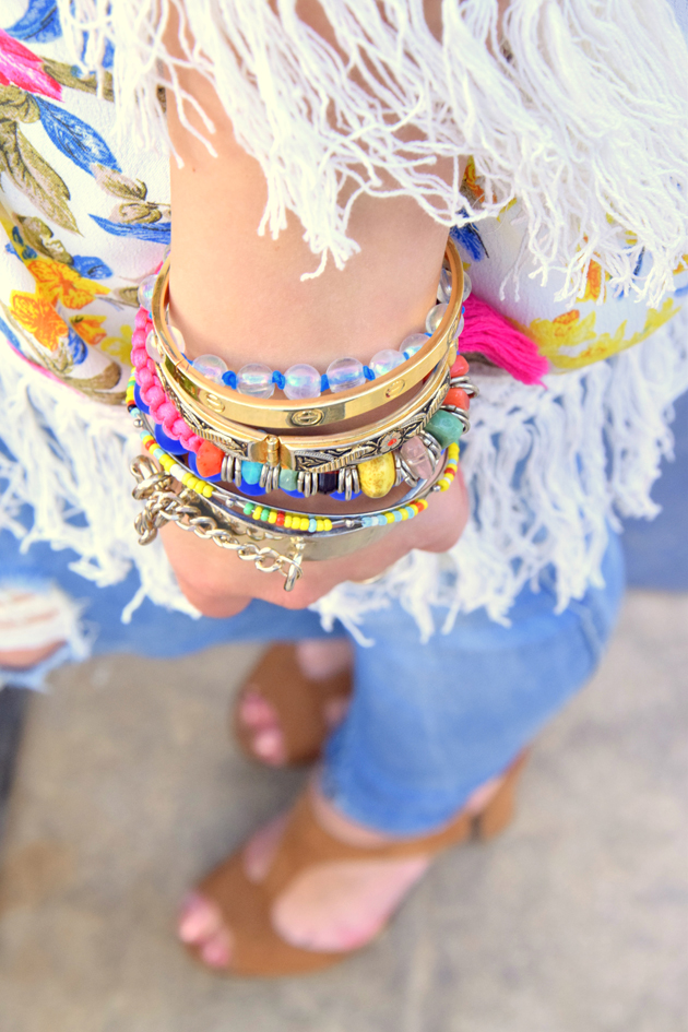 Arm candy for hippie stylish look with Givenchy and Bulgari bracelets