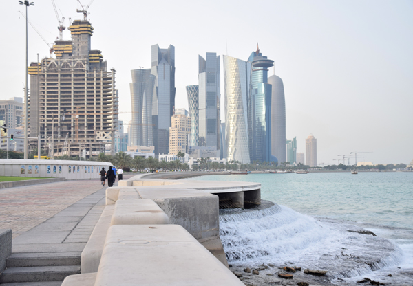 beautiful view of doha, qatar with the modern buildings and the beach