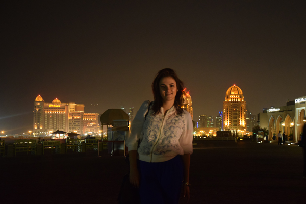 european woman in qatar wearing white clothes in doha
