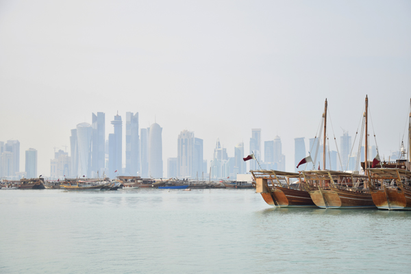 boats of doha in qatar amazing view