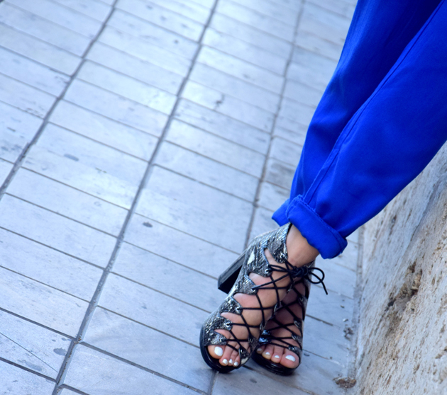 Girl with lace up sandals from Topshop