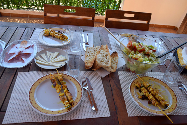 Spanish food on a terrace in Javea, Spain