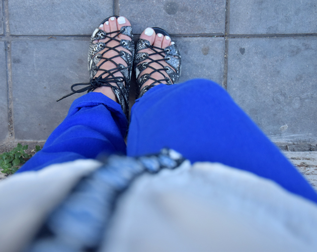 Sandals from Topshop in a snake print with blue H&M pants and a Mango blouse