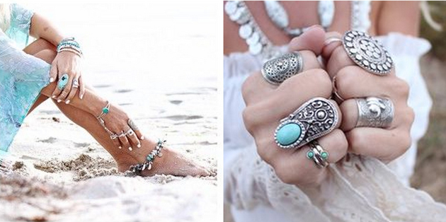 many accessories in boho, hippie style