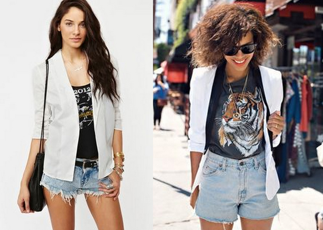 beautiful girls wearing denim shorts and white blazer. Under the blazer they have t-shirts with animal print