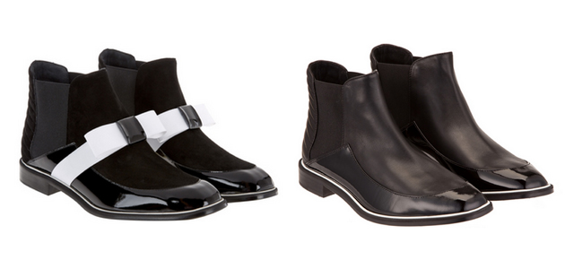 two pair of black ankle boots from high brand. This are the trends for this year.
